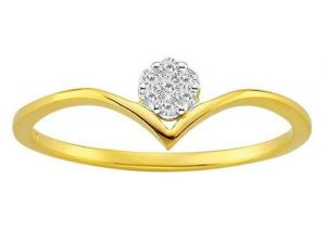 Avsar Real Gold And Diamond Crown Shape Ring