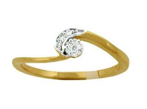 Avsar Real Gold And Diamond Curvi Ring Ring