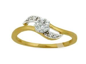 Avsar Real Gold And Diamond Wave Shape Ring