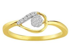 Avsar Real Gold And Diamond Heart Leave Ring
