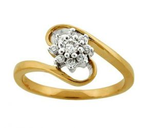 Avsar Real Gold And Diamond Sunflower Shape Ring