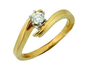 Avsar Real Gold And Diamond Solitaire Ring