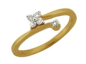 Avsar Real Gold And Diamond Kite Shape Ring