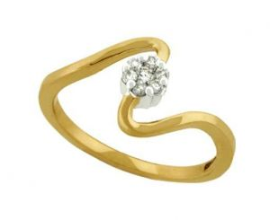 Avsar Real Gold And Diamond Zigzag Shape Ring