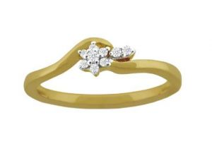 Avsar Real Gold And Diamond Short Leave Shape Rin
