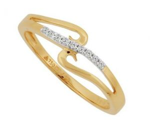 Avsar Real Gold And Diamond Long Neck Shape Ring