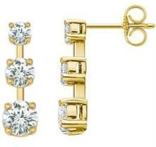 Ag Real Diamond Three Stone Earring Agse0001