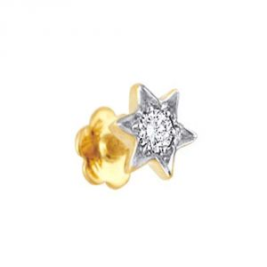 Silvery Jewellery - Ag Diamond 1 Stone Star Shape Nose ring AGSNO030