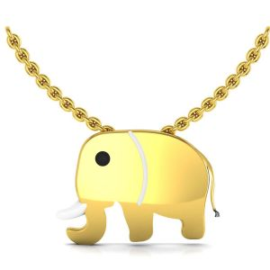 Avsar,Soie,Diya,Sleeping Story Women's Clothing - Avsar Real Gold and Diamond Elephant Shape Pendant AUP001A