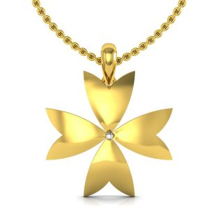 Avsar,Soie,Diya,Sleeping Story Women's Clothing - Avsar Real Gold and Diamond Flower  Pendant  AUP003A