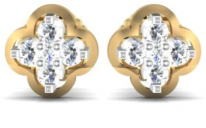 Avsar,Ag,Lime,Kalazone,Shonaya Women's Clothing - Avsar Real Gold and Diamond Katrina Earrings  AVE007