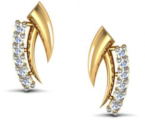 avsar Earrings (Imititation) - Avsar Real Gold and Diamond Shweta Earrings  AVE008