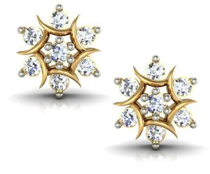 Avsar,Ag,Triveni,Flora Gold Jewellery - Avsar Real Gold and Swarovski Stone Anjali  Earring AVE009YB