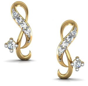 Gold Jewellery - Avsar Real Gold and Cubic Zirconia Stone Ruhi Earring( Code - AVE0118YBN )