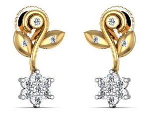 Avsar Real Gold And Swarovski Stone Channai Earring Ave0123yb