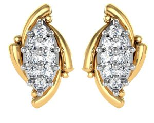 avsar Earrings (Imititation) - Avsar Real Gold and Diamond manalee Earrings  AVE012
