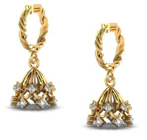 Kiara,Surat Tex,Tng,Avsar,Shonaya,Gili,Estoss,Hoop,Kaara,Magppie,Motorola Women's Clothing - Avsar Real Gold and Diamond Kavya Earrings  AVE161