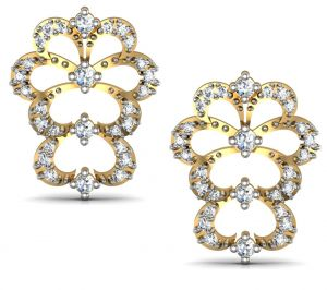 Avsar,Ag,Lime,Kalazone,Shonaya,Cloe Women's Clothing - Avsar Real Gold and Diamond Kashmir Earrings  AVE173