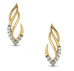 Triveni,Clovia,Jharjhar,Surat Diamonds,Avsar,Arpera,Parineeta Women's Clothing - Avsar Real Gold and Diamond Kirti Earrings  AVE029