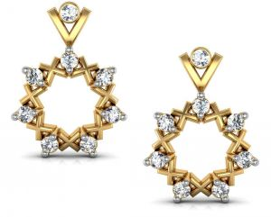 Avsar Real Gold And Diamond Star Earrings Ave036