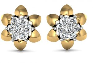 Triveni,Platinum,Jagdamba,Flora,Avsar Diamond Jewellery - Avsar Real Gold and Diamond Gujrat Earrings  AVE078