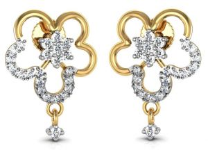Avsar Real Gold And Swarovski Stone Runali Earring Ave086yb