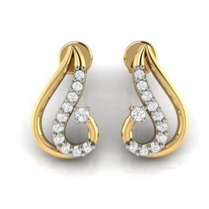 Rcpc,Ivy,Avsar,Soie,Bikaw,Flora,Surat Diamonds Women's Clothing - Avsar Real Gold and Diamond Earring( Code - AVE233A )