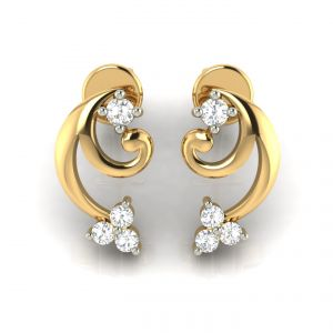 Diamond Jewellery - Avsar Real Gold and Diamond Earring( Code - AVE282A )