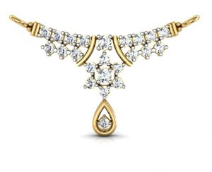 Lime,Surat Tex,Soie,Diya,Gili,Avsar,Flora,Kiara,Surat Diamonds,Mahi Fashions Women's Clothing - Avsar Real Gold and Diamond Kanika Mangalsutra  AVM001
