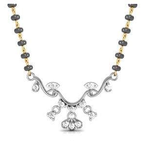 Gold jewellery - Avsar Real Gold and Diamond Sikkim Mangalsutra  ( Code - AVM072WN )