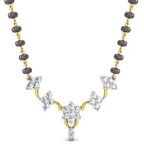 Kiara,Tng,Avsar,Shonaya,Gili,Jpearls,Estoss Women's Clothing - Avsar Real Gold and Diamond Gujarat Mangalsuta  AVM077