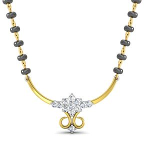 Asmi,Platinum,Ivy,Unimod,Hoop,Surat Diamonds,Avsar Women's Clothing - Avsar Real Gold and Diamond Chennai Mangalsuta  AVM079