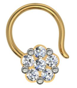 lime,surat tex,soie,diya,gili,avsar Nose Rings (Imitation) - Avsar Real Gold and Diamond Patana Nose Ring  AVN001
