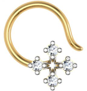 Kiara,Tng,Avsar,Shonaya,Gili,Estoss,Hoop,Kaara Women's Clothing - Avsar Real Gold and Diamond Kokan Nose Ring  AVN013