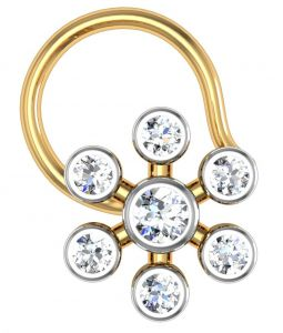 Avsar Real Gold And Swarovski Stone Kaveri Nose Ring Avn018yb