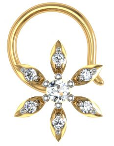 kiara,shonaya,avsar,the jewelbox Nose Rings (Imitation) - Avsar Real Gold and Diamond Rashi Nose Ring  AVN019