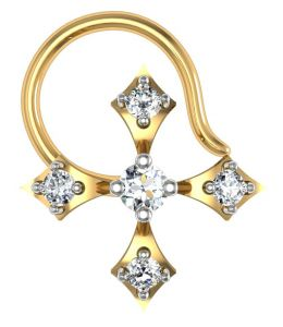 avsar,unimod,lime,clovia,arpera Nose Rings (Imitation) - Avsar Real Gold and Diamond Panaji Nose Ring  AVN021