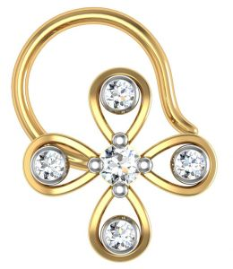 Kiara,Tng,Avsar,Shonaya,Gili,Jpearls,Estoss Women's Clothing - Avsar Real Gold and Diamond kashmir Nose Ring  AVN023