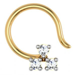 Avsar Real Gold And Swarovski Stone Janvhi Nose Ring Avn002yb