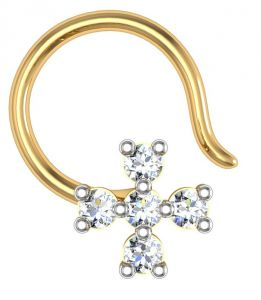 Nose pins & nose rings - Avsar Real Gold and Swarovski Stone Kashmir Nose Ring  AVN007YB