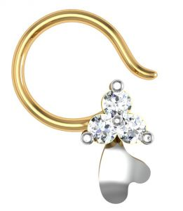 kiara,shonaya,avsar,the jewelbox Nose Rings (Imitation) - Avsar Real Gold and Diamond Gujarat Nose Ring  AVN011
