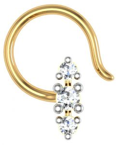 avsar,hoop,jagdamba Nose Rings (Imitation) - Avsar Real Gold and Diamond Pune Nose Ring  AVN012