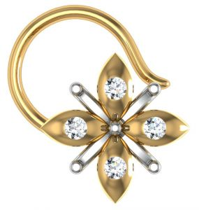 kiara,shonaya,avsar,the jewelbox Nose Rings (Imitation) - Avsar Real Gold and Diamond Madras Nose Ring  AVN014