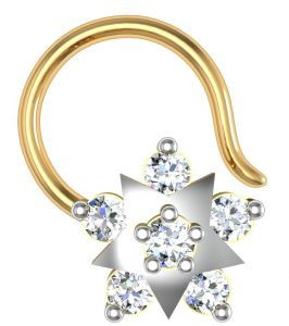 jagdamba,avsar,lime,valentine Nose Rings (Imitation) - Avsar Real Gold and Diamond Pournima Nose Ring  AVN015