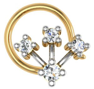 Avsar Real Gold And Diamond 4 Stone Chennai Nose Ring Avn022