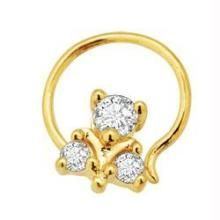 Avsar Real Gold And Diamond 3 Stone Fancy Nosering Avno002