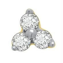 Kiara,Surat Tex,Tng,Avsar,Platinum,Oviya,Triveni,Asmi,Mahi Women's Clothing - Avsar Real Gold and Diamond 3 Stone Flower Shape Nosering AVNO003