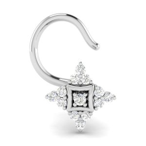 Avsar Real White Gold And Diamond Vedika Nosering( Code - Avno037wa )