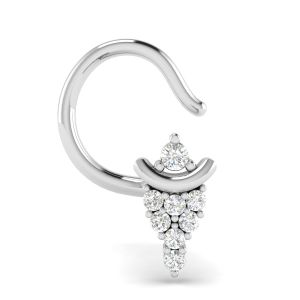 Avsar Real White Gold And Diamond Lavnya Nosering( Code - Avno040wa )