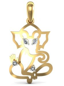 shonaya,avsar,the jewelbox,lime,estoss Pendants (Imitation) - Avsar Real Gold and Diamond Ganesha Shape Pendant  AVP016